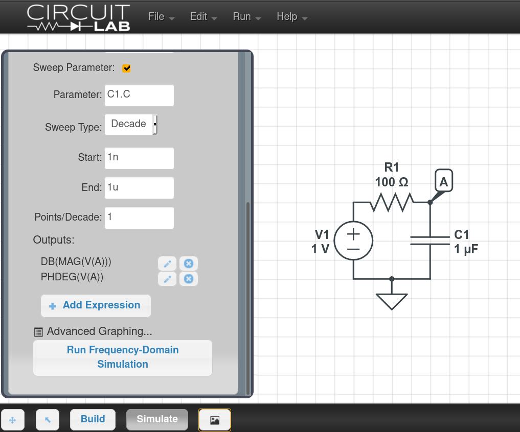 Parameter sweep setup